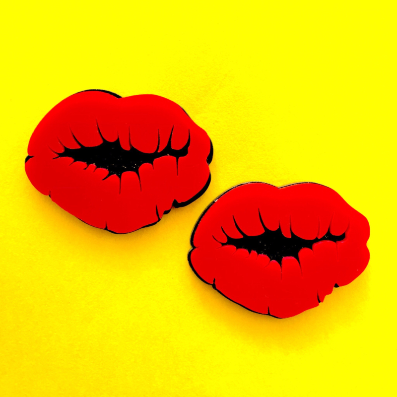 Red Acrylic Lips Earrings