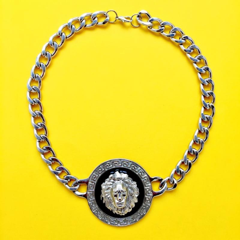 Silver Short Lion Necklace XL