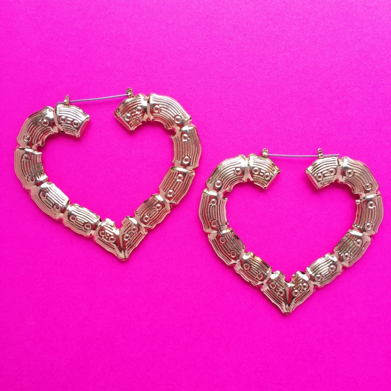 Bamboo Gold Heart  Earrings XL