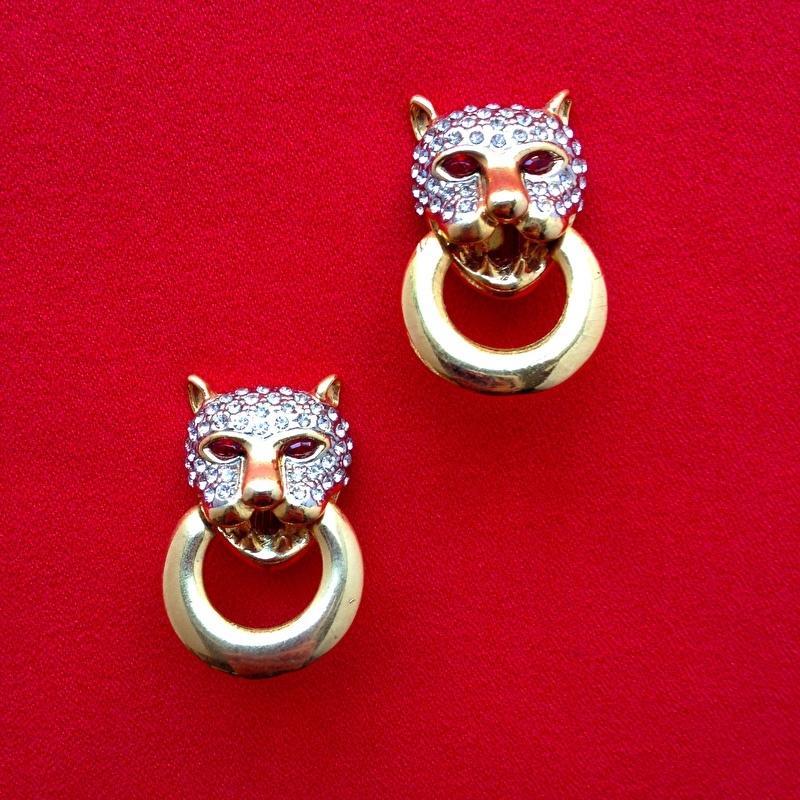 Gold Leopard Head Clip Earrings