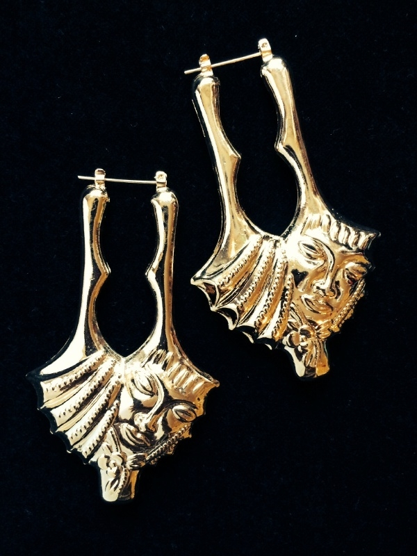 Fragmented Face Gold Earrings