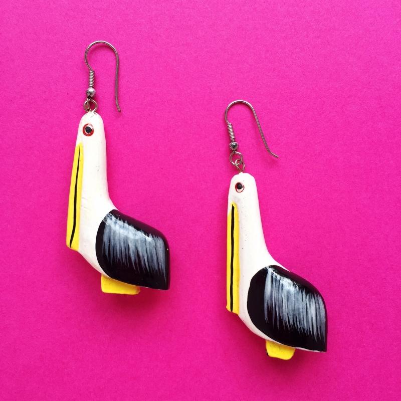 Bird Handpainted Earrings Black/Yellow/White Wood