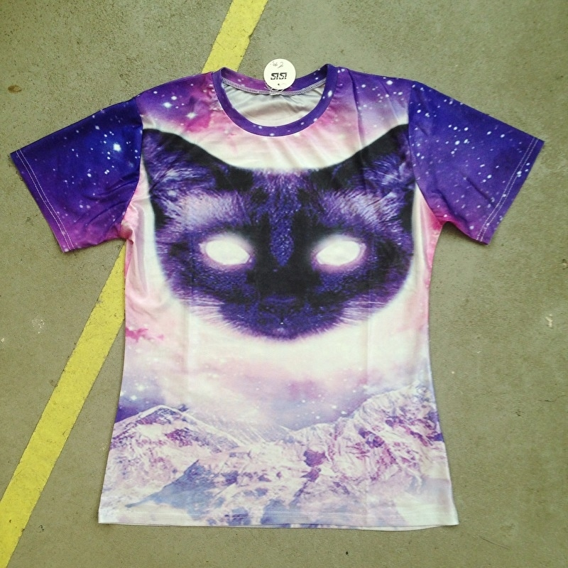 Laser Eyes Cat Purple T-Shirt