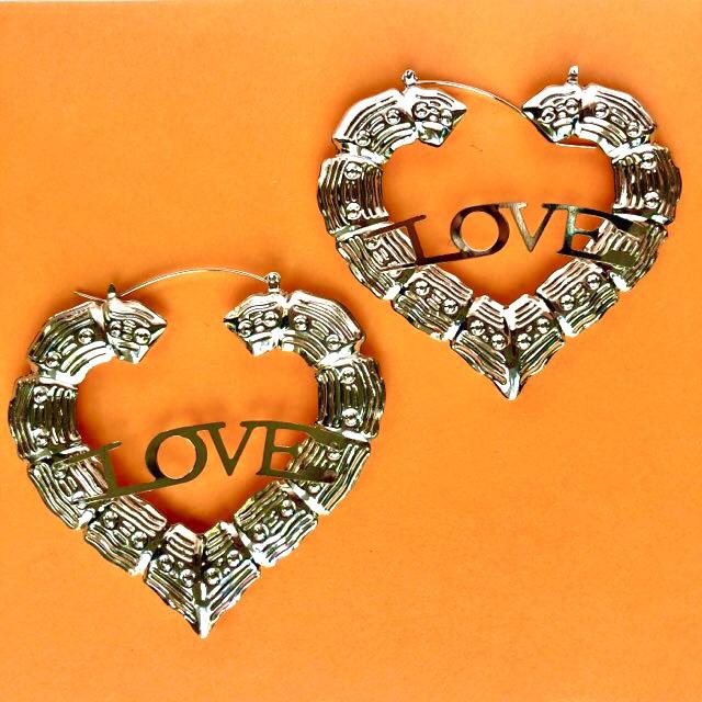 Silver Bamboo Love Earrings
