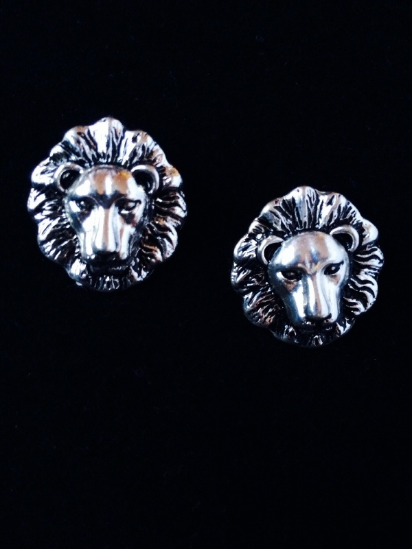 Lion Silver Stud Earrings