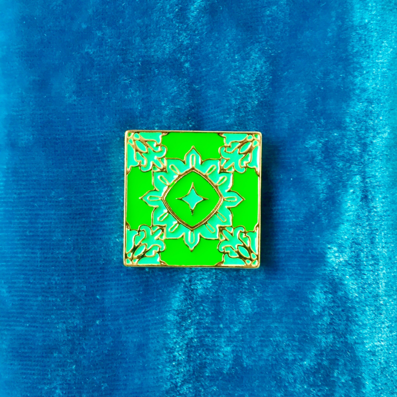 Green Tile Pattern Pin
