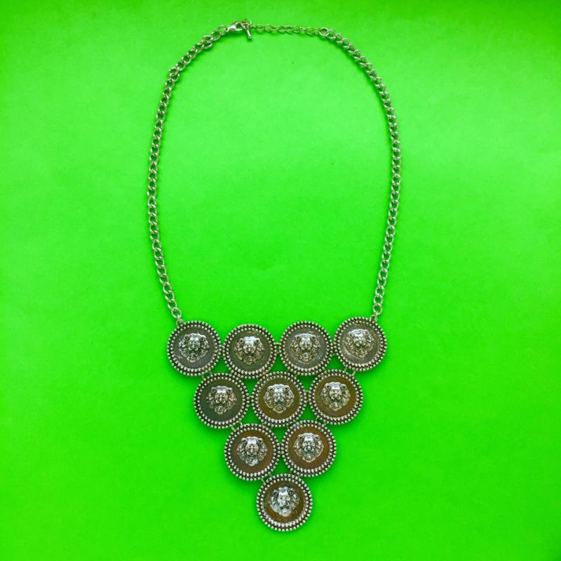 Silver Lion Coins Necklace