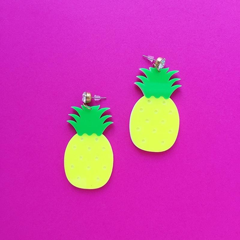 Acrylic Pineapple Earrings Yellow/Green