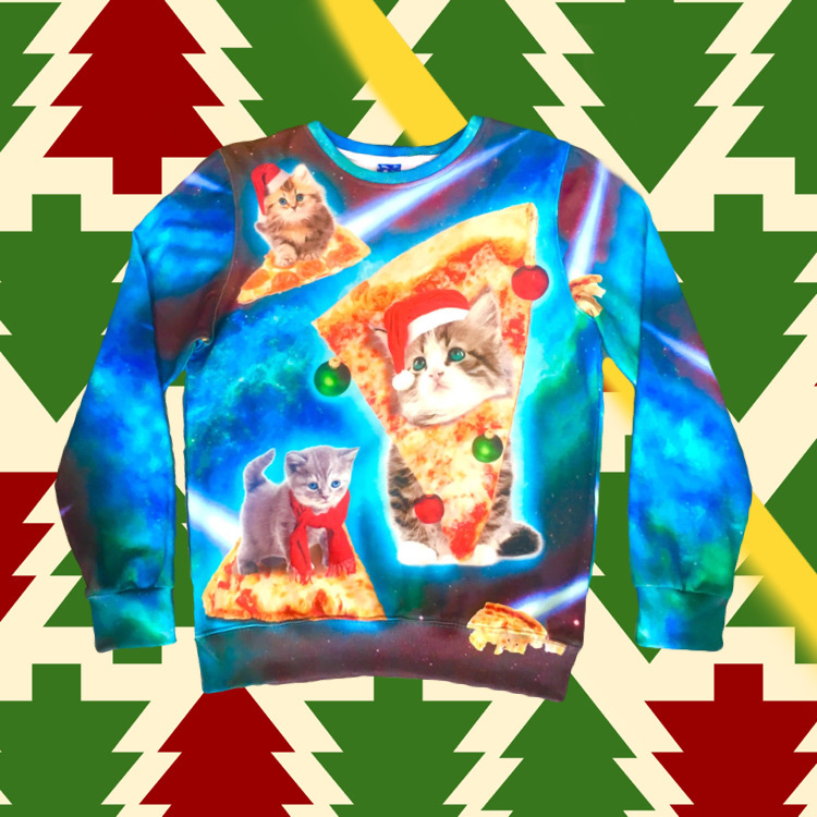 Christmas Sweater Kitten Pizza
