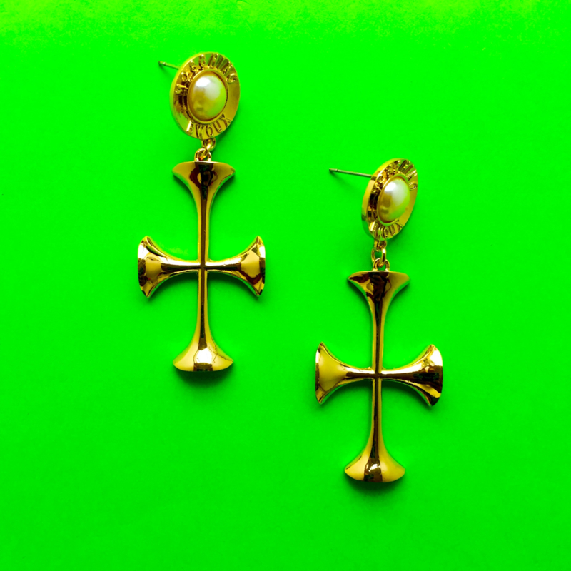 Gold and Pearl Cross Earrings