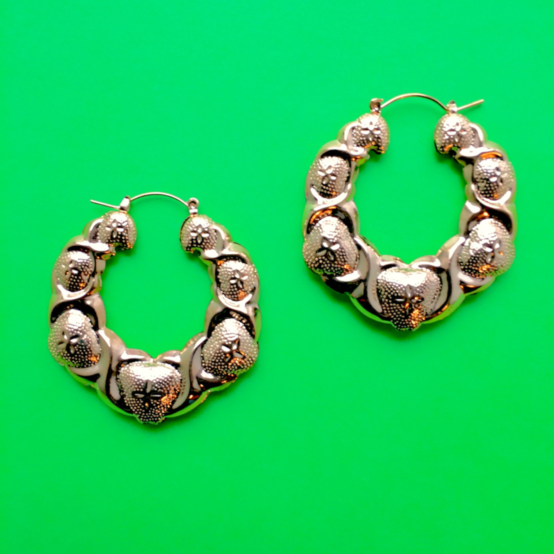 Gold Bubble Bamboo Earrings