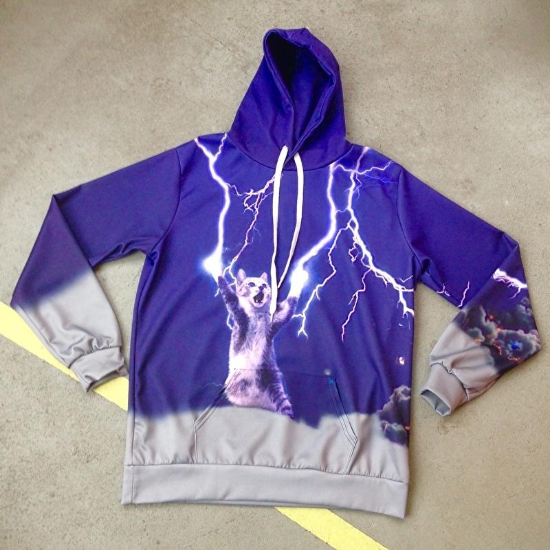 Lightning Cat Hooded Sweater