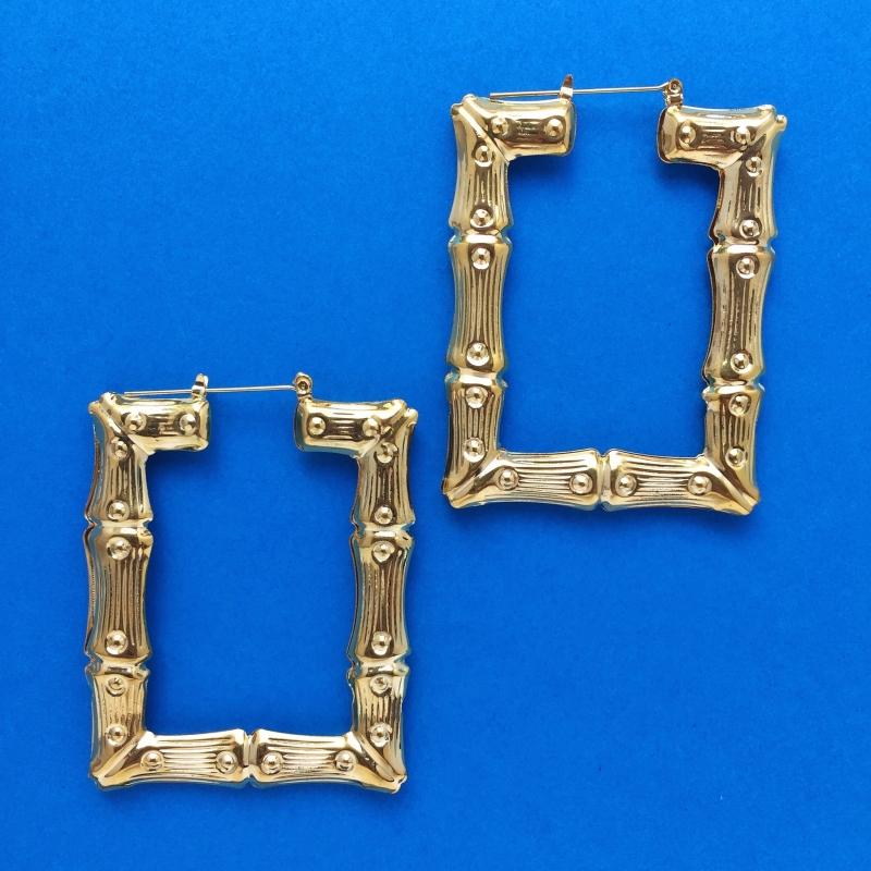 Square Hoop Bamboo Gold Earrings