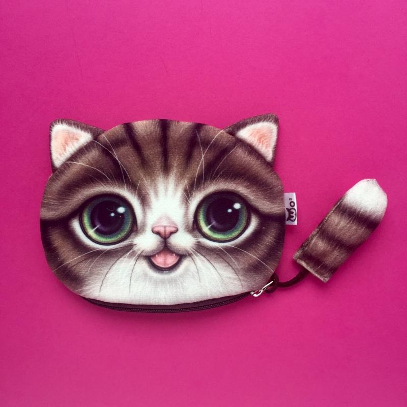 Brown Happy Cat Wallet XL