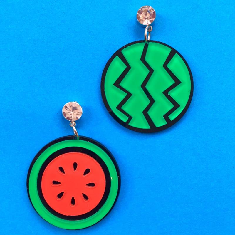 Round Watermelon Acrylic Earrings