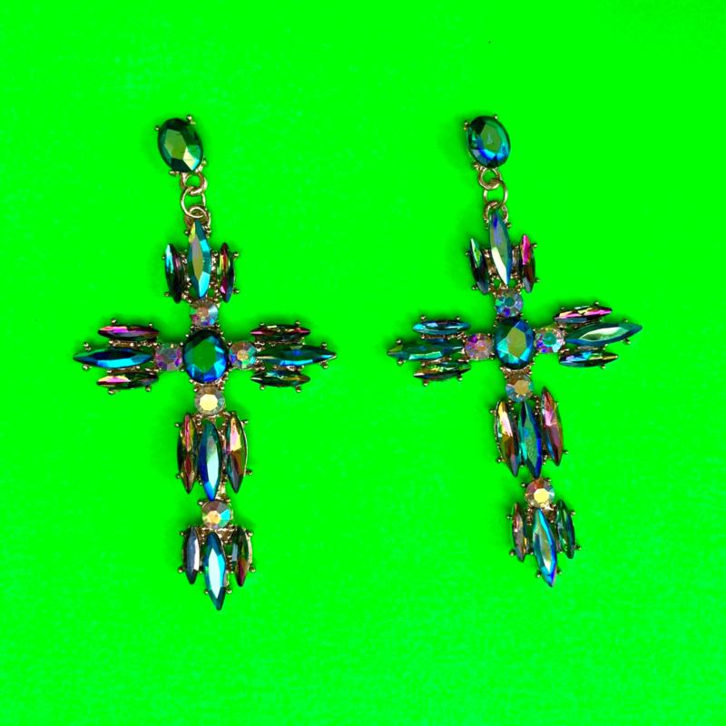 Sparkly Diamonds Cross Earrings