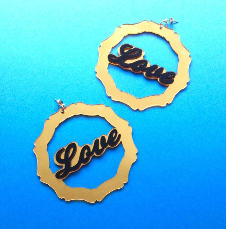 Love Acrylic Bamboo Earrings