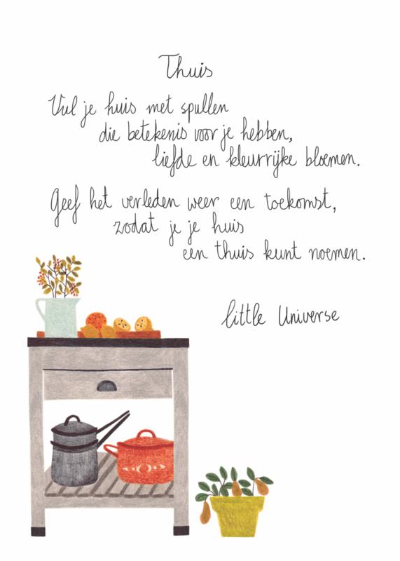 Little Universe postcard 'Thuis'
