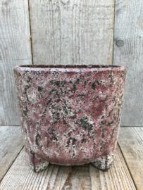 Zaalberg cachepot rozerood met nokken