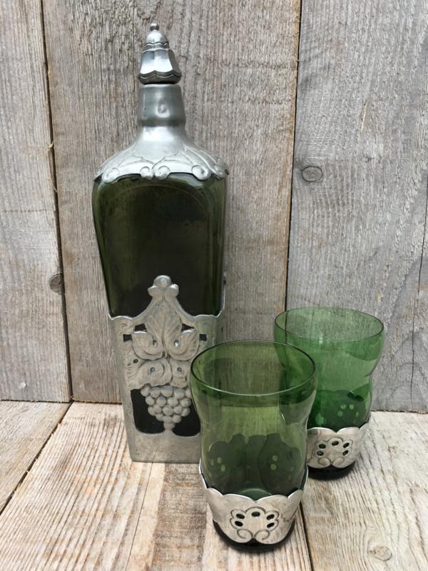 Gero hoge fles met Art Nouveau tinbeslag