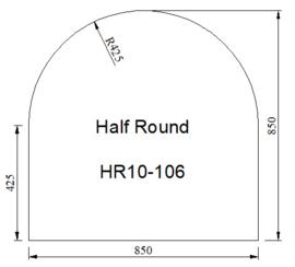 Kachelvloerplaat halfrond 850 x 850 x 6