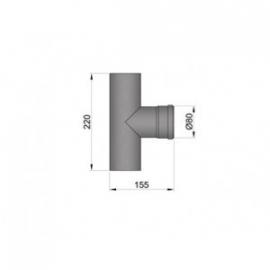 Pelletkachel T-stuk 80 mm met 1x mof ∅ 80mm