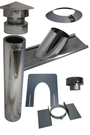 Blokhutknaller: Complete set 150 mm schuin pannendak doorvoer