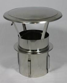 RVS zelfklemmende regenkap met opklapbaar deksel Ø200mm DA-200-CH-PT