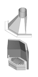 Samengestelde Haard In de Hoek/Ster 55 met vuurkorf modern plat