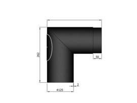 EW/125 2mm Haakse bocht 90° graden (Kleur: Zwart) #11-292