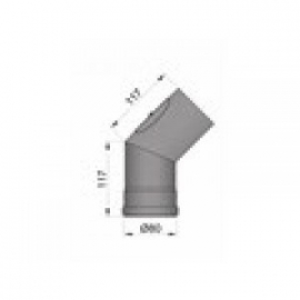 Pelletkachel bocht 45° met veegluik ∅ 80mm