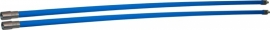 Professionele blauwe veegset 2,40m met nylonborstel 80mm