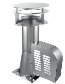 Rookgasventilator met vierkante basis en kap Ø150mm GCKD150-CH