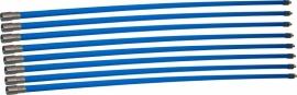 Professionele blauwe veegset 9,60m met staalborstel 150mm