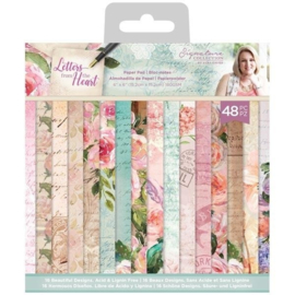 Crafter's Companion  - Letters From The Heart - Paper Pad -15.2 x15.2  cm