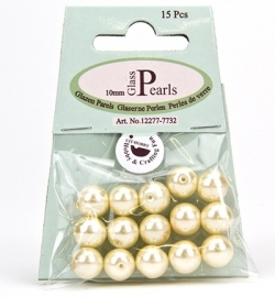 Glass Pearls Round 10 mm Beige