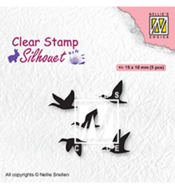 Nellies Choice Clearstempel - Silhouette Vogels