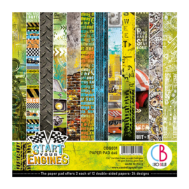 Ciao Bella -Start your Engines  - Dubbelzijdig Paper pad 15 cm x 15 cm.. - CBQ031