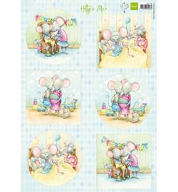 Marianne Design - A4 Knipvel Hetty -  Mice  - HK1708