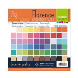 Florence - Cardstock Multipack Linnen 15 x 15 cm - 60 vel