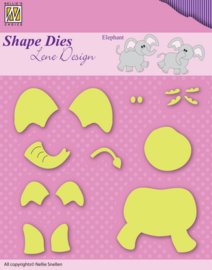 Nellie Snellen Shape Dies - Baby opbouw Olifant SDL031