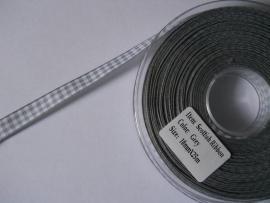 Pepita Lint Ruit Grijs 1 cm breed