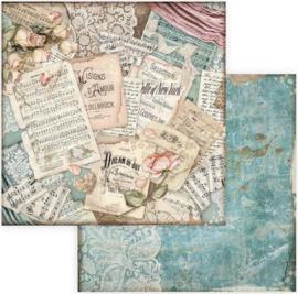 Stamperia - Passion -  Scores -  Paper 30.5 x 30.5 cm