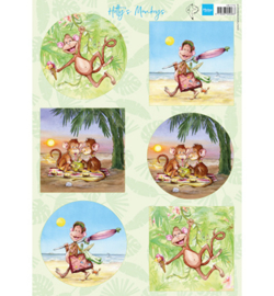 Marianne Design - A4 Knipvel Hetty -  Monkeys  - HK1710
