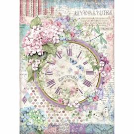 Stamperia - Hortensia - Rice Paper - A4 Clock