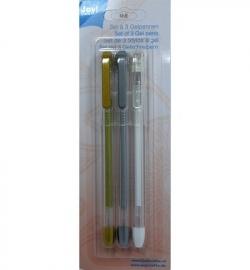 Gel pennen set van 3 goud / zilver / wit 6200/0102
