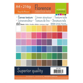 Florence - Cardstock Multipack Linnen A4 - 60 vel