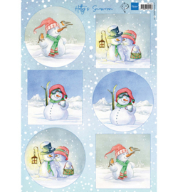 Marianne Design - A4 Knipvel Hetty - Snowmen - HK1705