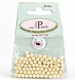 Glass Pearls Round 4 mm Beige