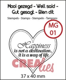Crealies Clearstamp Mooi gezegd (UK) no 1 hart